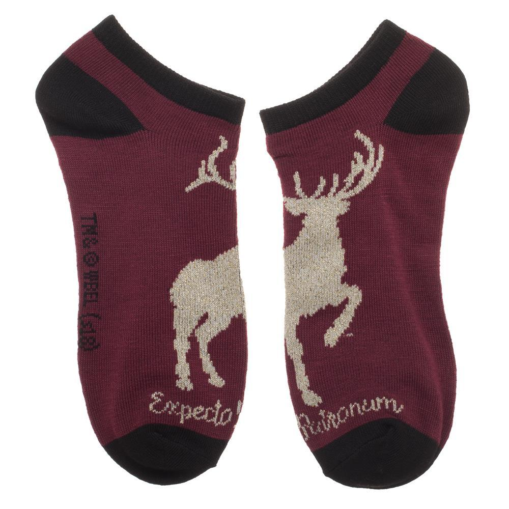 Harry Potter with a Stag, Hogwarts Crest, and Spells 3 Pack Ankle Socks