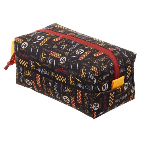 Harry Potter Symbols Print Zip Travel Cosmetic Toiletry Bag