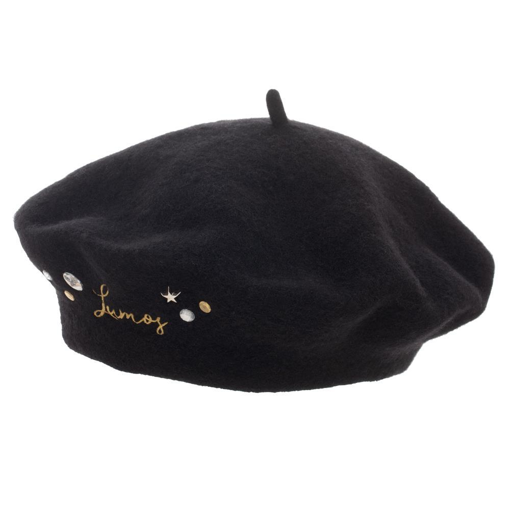Harry Potter Black Embroidered Lumos and Embellishments Beret Hat
