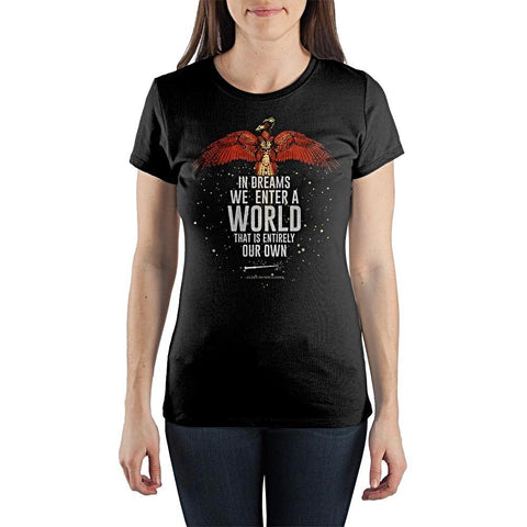 Harry Potter In Dreams We Enter A World Quote Women's Black Tee Shirt