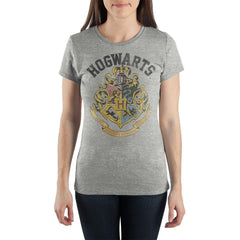 Harry Potter Hogwarts Crest with Motto Women's Gray Tee Shirt