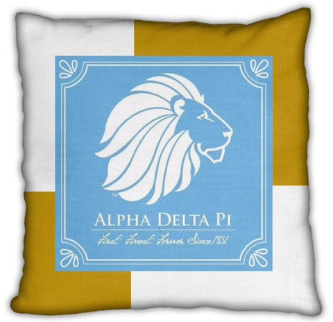 "Alpha Delta Pi 16"" Gold with Blue Lion Block Invisible Zip Pillow"