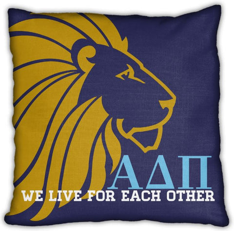 "Alpha Delta Pi 16"" Navy with Gold Lion,Letters, & Motto Zip Pillow"