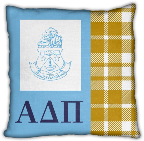 "Alpha Delta Pi 16"" Crest on Blue with Plaid Invisible Zip Pillow"