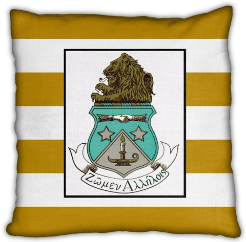 "Alpha Delta Pi 16"" Crest with Stripes Invisible Zip Pillow"