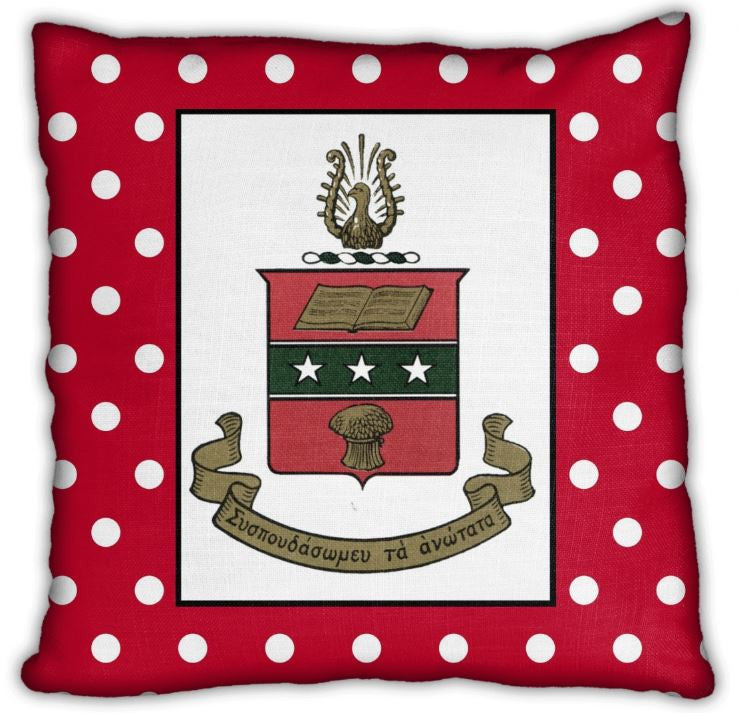 "Alpha Chi Omega 16"" Crest on Red & White Polka Dots Invisible Zip Pillow"