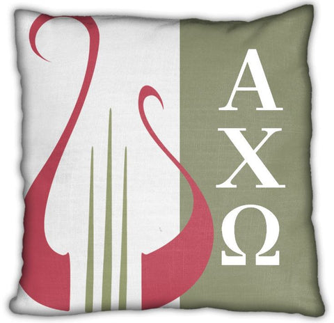 "Alpha Chi Omega 16"" Lyre with Letters Invisible Zip Pillow"
