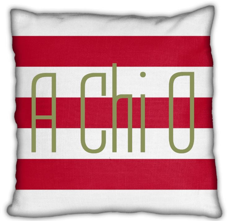 "Alpha Chi Omega 16"" A Chi O on Red and White Stripes Invisible Zip Pillow"