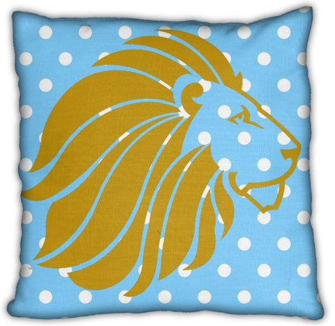 "Alpha Delta Pi 16"" Gold Lion on Blue and White Polka Dots Zip Pillow"
