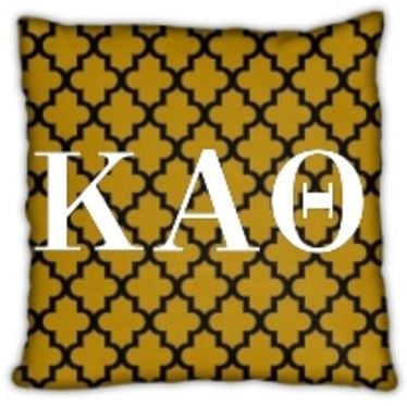 "Kappa Alpha Theta 16"" Gold Pattern with Letters Invisible Zip Pillow"