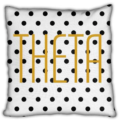 "Kappa Alpha Theta 16"" Theta Polka Dot Invisible Zip Pillow"
