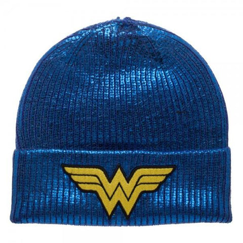 DC Comics Wonder Woman Blue Metallic Coated Beanie
