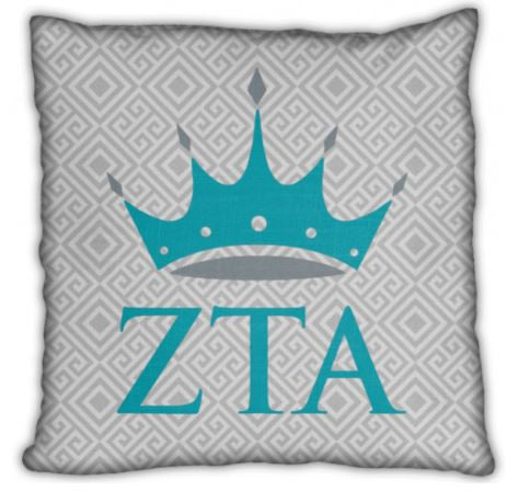 "Zeta Tau Alpha 16"" Crown with Letters Invisible Zip Pillow"