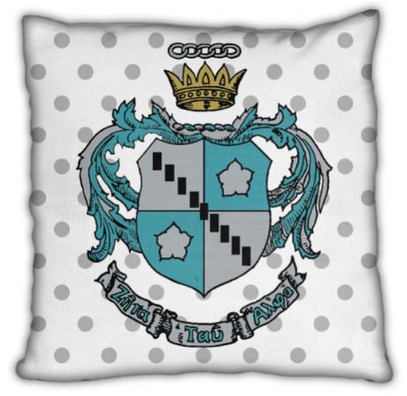 "Zeta Tau Alpha 16"" Crest and Polka Dot Invisible Zip Pillow"
