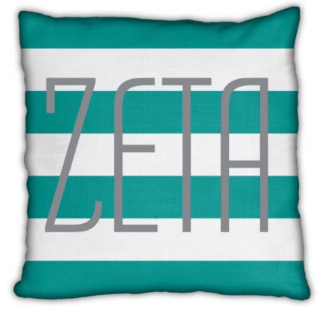 "Zeta Tau Alpha 16"" Stripes with Zeta Invisible Zip Pillow"