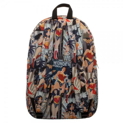 DC Comics Wonder Woman All Over Print Cartoon-Style Backpack