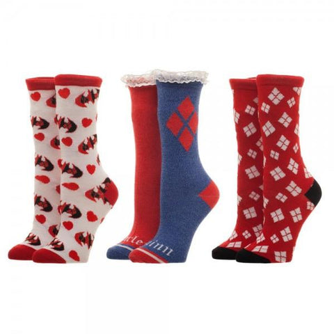 DC Comics Harley Quinn 3 Pack Sock Set in Gift Box