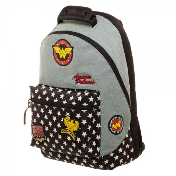 DC Comics Wonder Woman Denim and Star Print Backpack with Padded Back