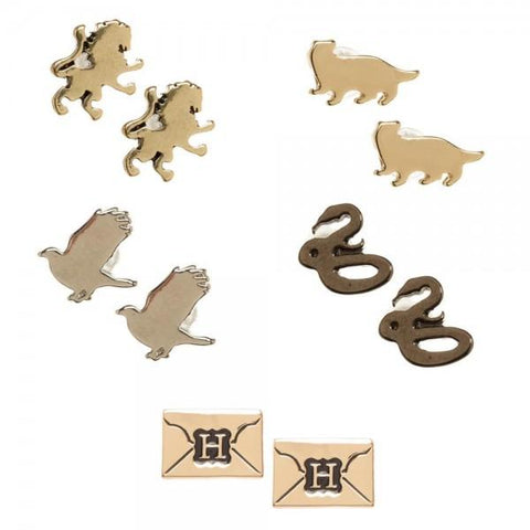 Harry Potter Hogwarts 5 Pack House Symbols and Envelope Post Earrings