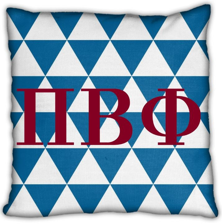 "Phi Beta Phi 16"" Letters on Blue and White Points Pattern Invisible Zip Pillow"