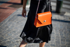 Sac en cuir Orange Grainé fait main Anna
