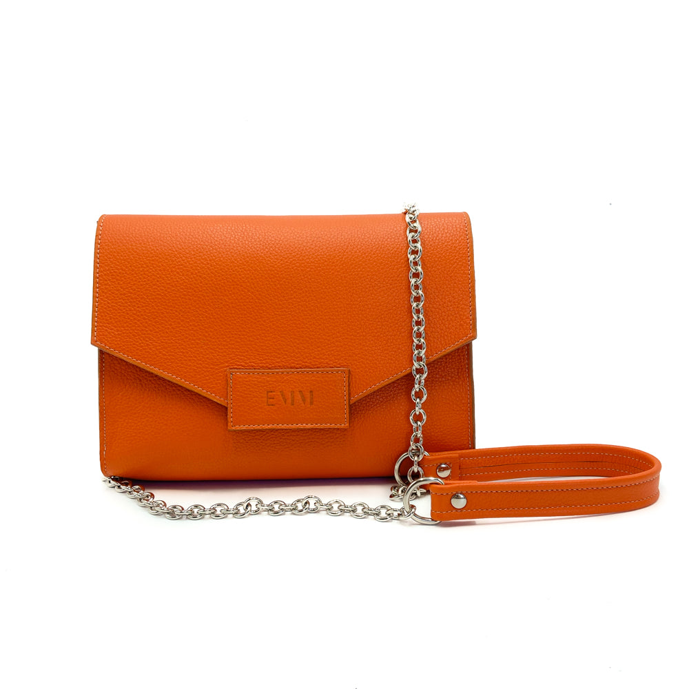 Sac en cuir Orange fait main Rosa