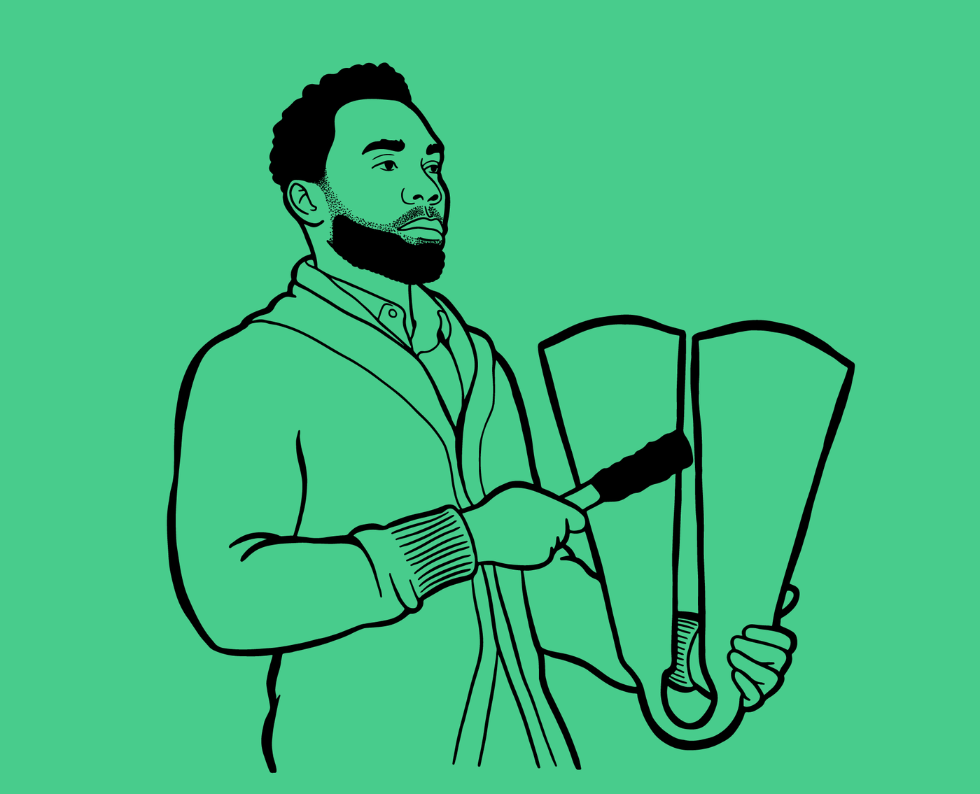 illustration of african man with beard playing ogene bell instrument