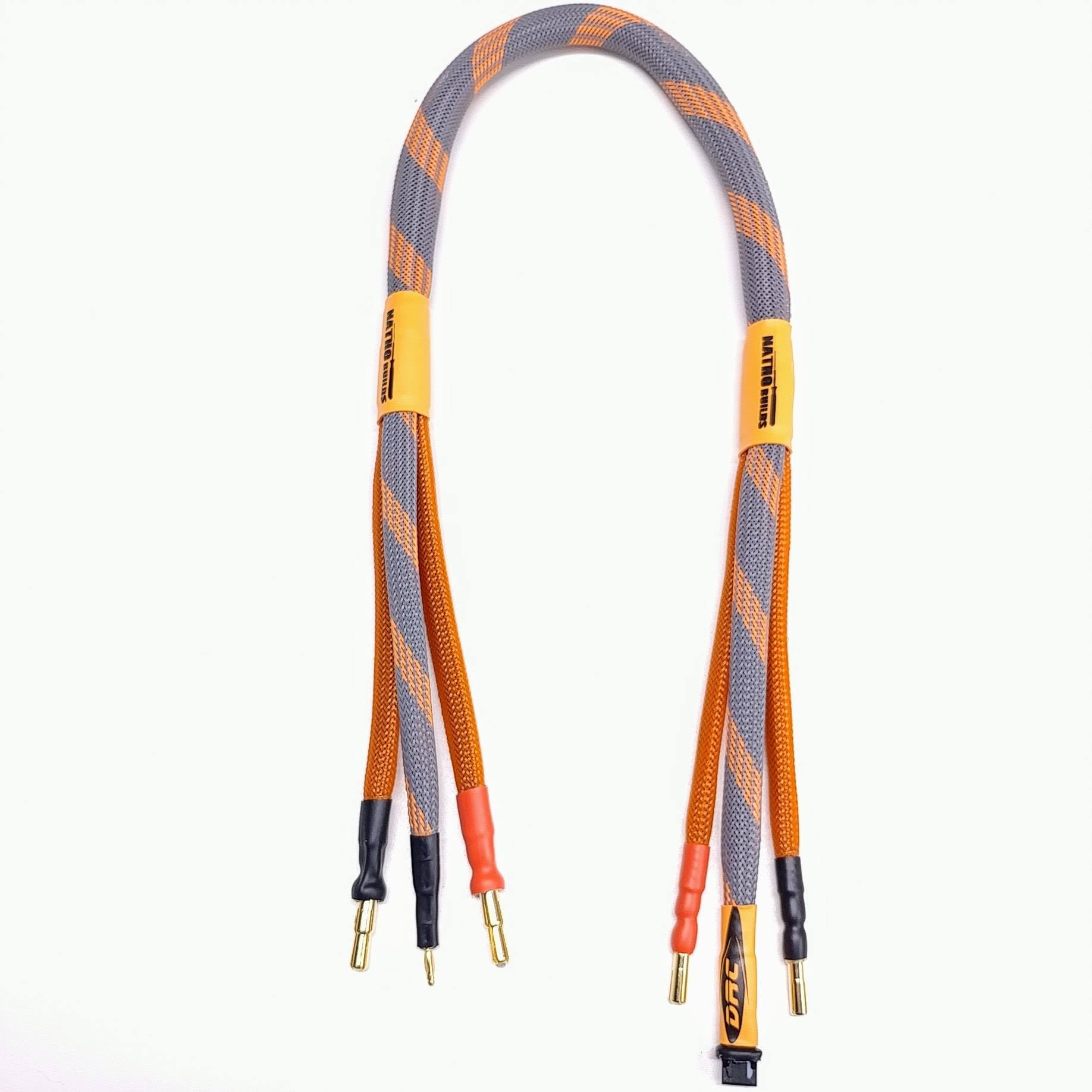 2020 Leveled Up Balance Charge Lead for 2s lipo 4/5mm bullet (Orange & Twist)