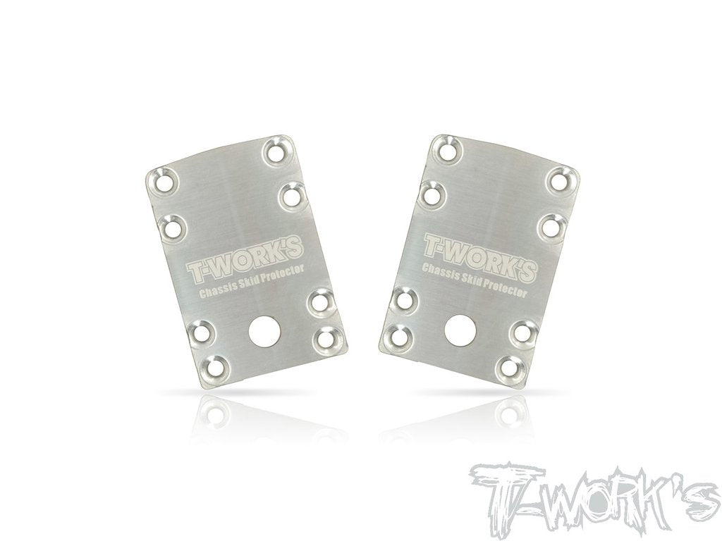 T-works Stainless Steel Rear Chassis Skid Protector ( Team Associated RC10 B74 ) 2pcs.