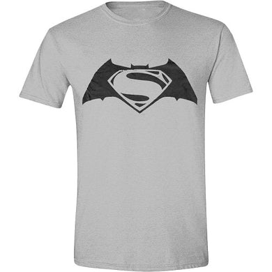 T-shirt Batman Superman logo - Grå