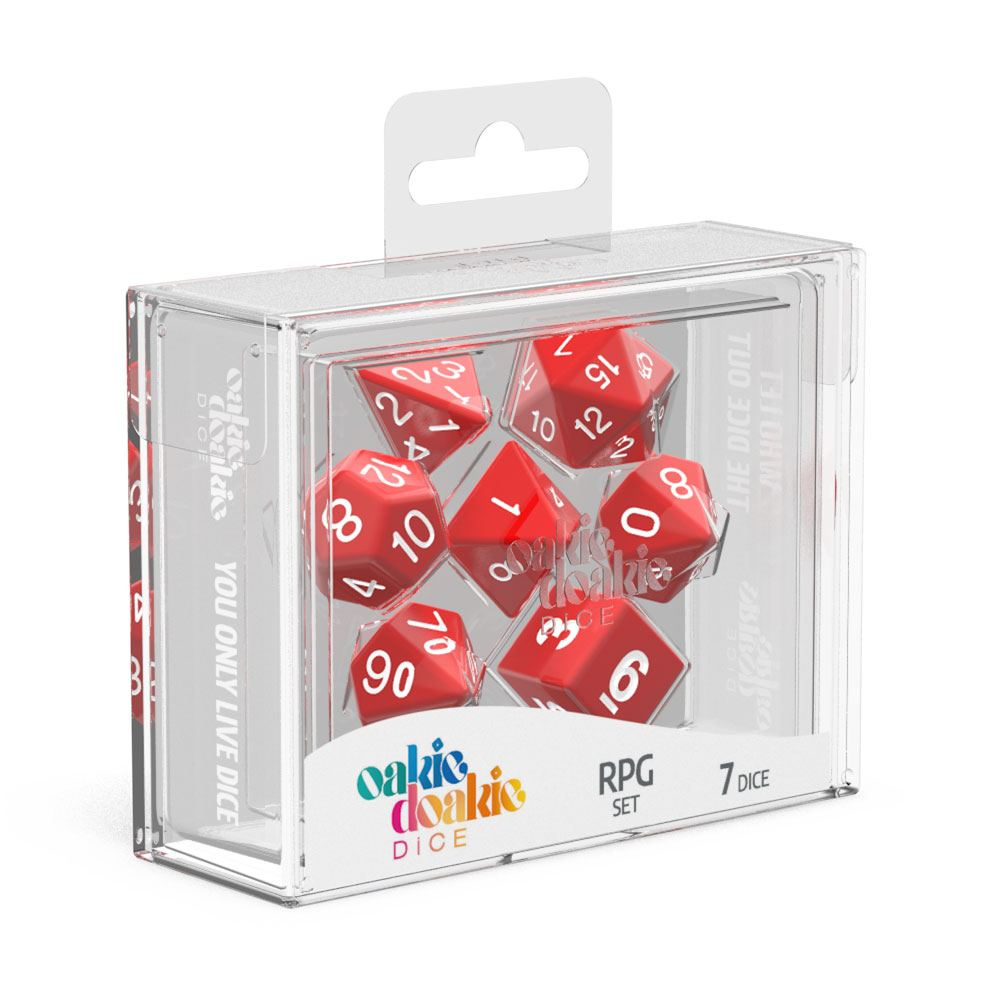 Oakie Doakie Dice RPG Set Solid - Rød 7 stk