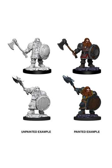 D&D Nolzur's Marvelous Miniatures Male Dwarf  Fighter (Ikke malet) (2 stk)