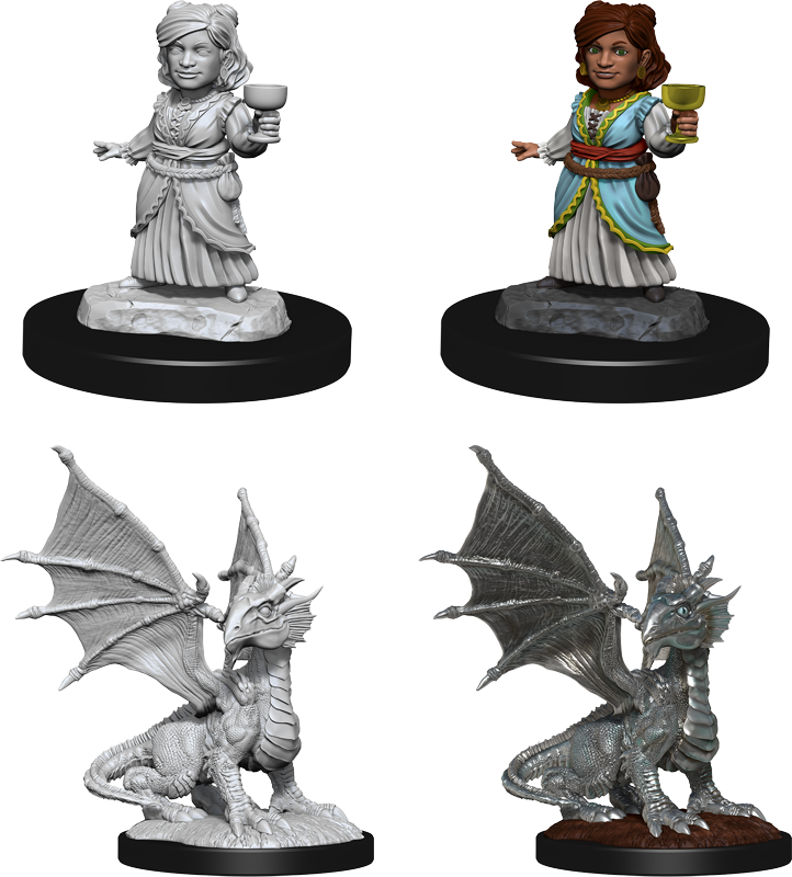 Wizkids - Dungeons and Dragons Silver Dragon Wyrmling & Female halfling