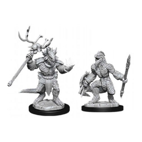 D&D Nolzur's Marvelous Miniatures Lizardfolk and Lizardfolk shaman (Ikke malet) (2 stk)