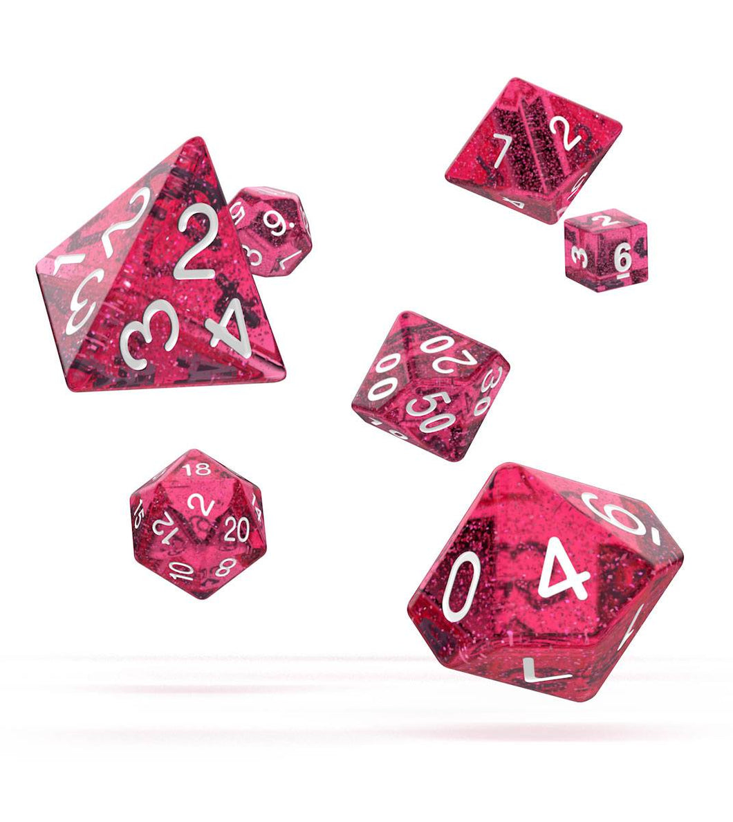 Oakie Doakie Dice RPG Set Speckled - Pink 7 stk