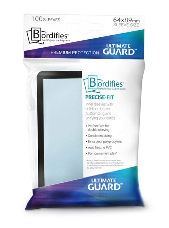 Sleeves Ultimate Guard Bordifies™ Precise-Fit Sleeves Standard Size m. sort kant  (100 stk) 64x89