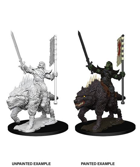 Nolzur's Marvelous Miniatures Orc on Dire Wolf (Ikke malet) (1 stk)