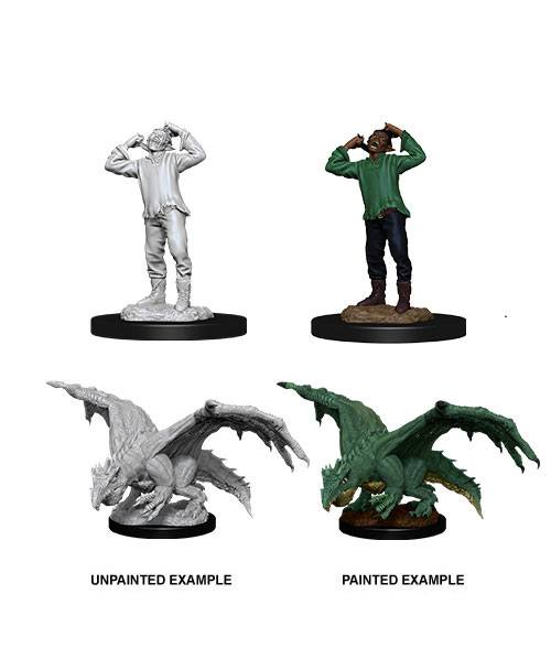 D&D Nolzur's Marvelous Miniatures Green Dragon Wyrmling & Afflicted elf (Ikke malet) (2 stk)