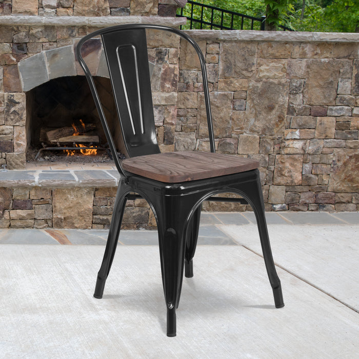 "17.5"" Black Metal Restaurant Stackable Chair with Wood Seat"