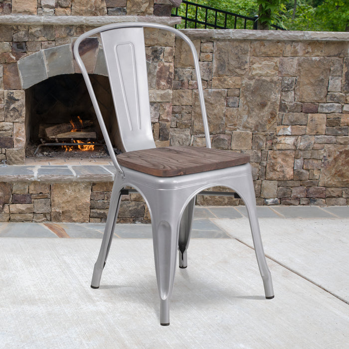 "17.5"" Silver Metal Restaurant Stackable Chair with Wood Seat"