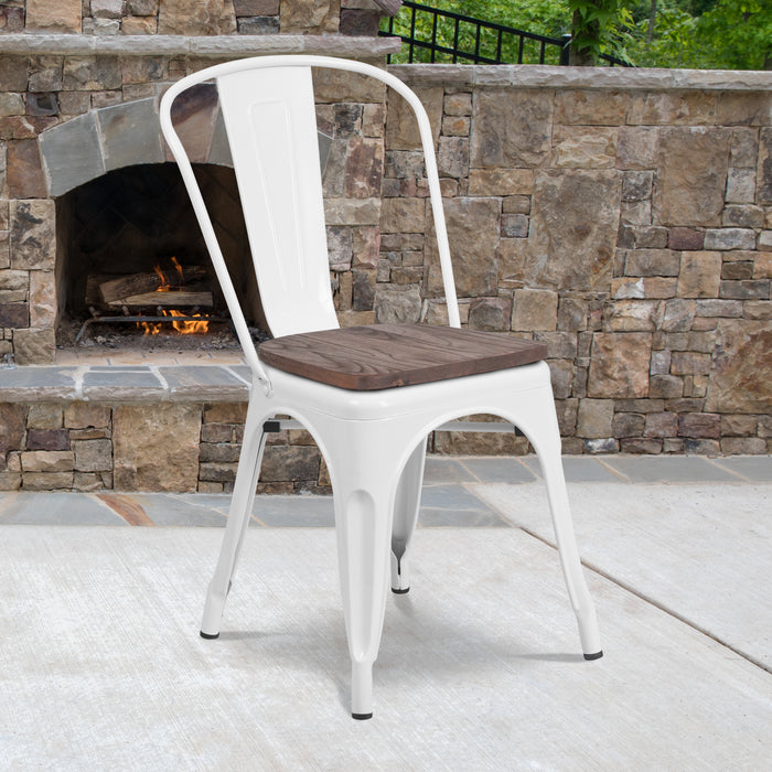 "17.5"" White Metal Restaurant Stackable Chair with Wood Seat"