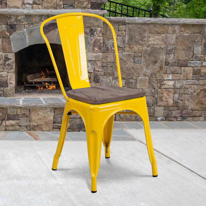 "17.5"" Yellow Metal Restaurant Stackable Chair with Wood Seat"