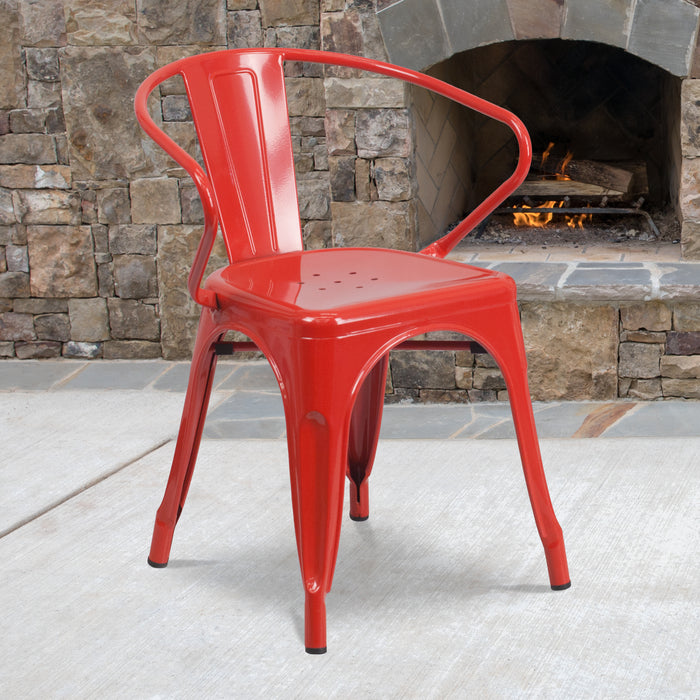 "17.5"" Red Metal Restaurant Indoor-Outdoor Chair with Arms"