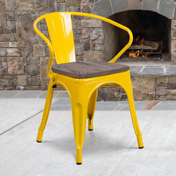 "17.5"" Yellow Metal Restaurant Chair with Wood Seat and Arms"