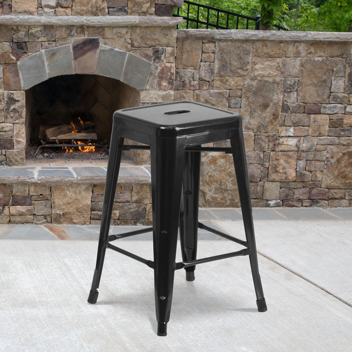 24'' High Backless Black Metal Restaurant Indoor-Outdoor Counter Height Stool with Square Seat