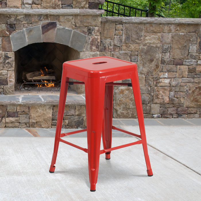 24'' High Backless Red Metal Restaurant Indoor-Outdoor Counter Height Stool with Square Seat
