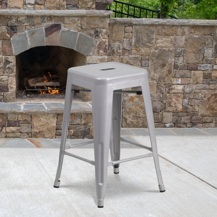 24'' High Backless Silver Metal Restaurant Indoor-Outdoor Counter Height Stool with Square Seat