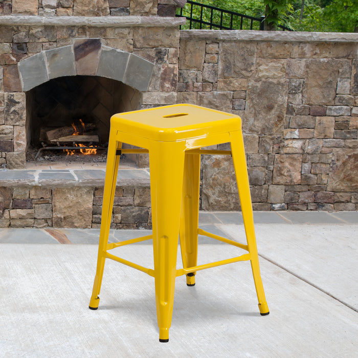 24'' High Backless Yellow Metal Restaurant Indoor-Outdoor Counter Height Stool with Square Seat