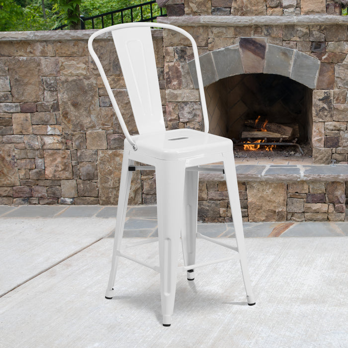 24'' High White Metal Restaurant Indoor-Outdoor Counter Height Stool with Back