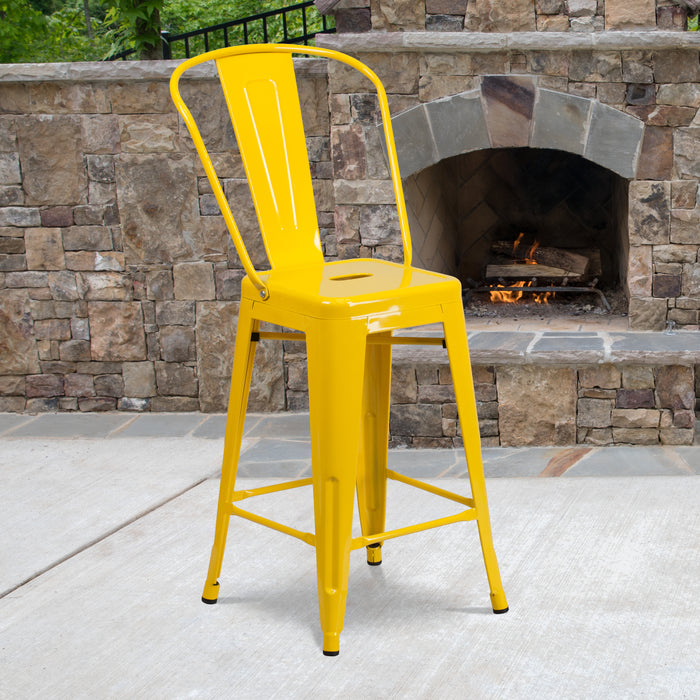 24'' High Yellow Metal Restaurant Indoor-Outdoor Counter Height Stool with Back